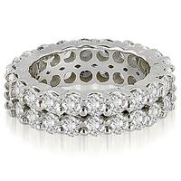 4.40 ct tw 14K White Gold Round Cut Diamond Two Row Eternity Anniversary Band HI, SI1-2