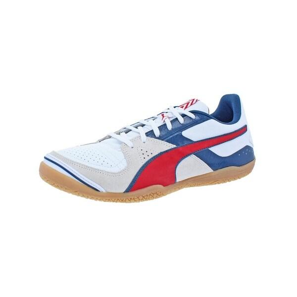 764e6bdc7750 Puma Mens Invicto Sala Soccer Shoes Suede Non-Marking White 8 Medium (D)