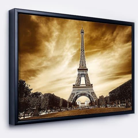 Designart 'Paris Eiffel Towerin Grey Shade' Landscape Photography Framed Canvas Print
