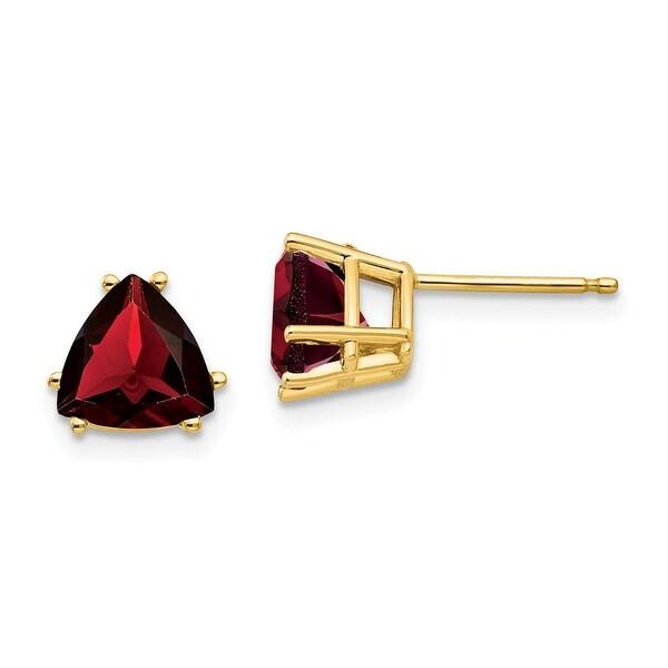 14K Yellow Gold 7mm Trillion Garnet Earrings by Versil. Opens flyout.