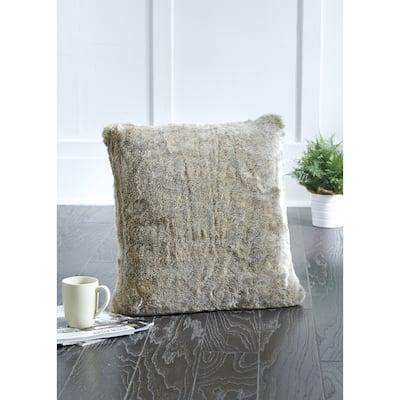 Raegan Contemporary Grey Faux Fur Throw Pillow