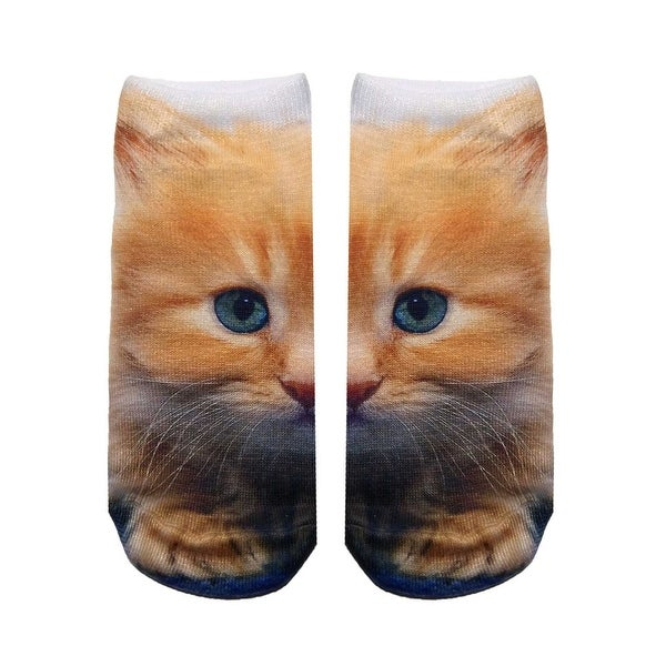 Kitty Photo Print Ankle Socks - Orange