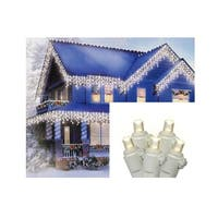 Set of 70 Warm White LED Wide Angle Icicle Christmas Lights - White Wire - Clear