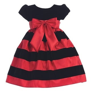 Red Black Velvet Flocked Stripe Christmas Dress Girls 3M-10