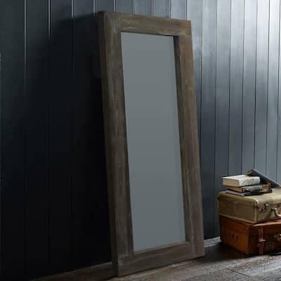 Retro Solid wood Full-Length Floor Mirror-Hollow Wood Distressed - 58x24