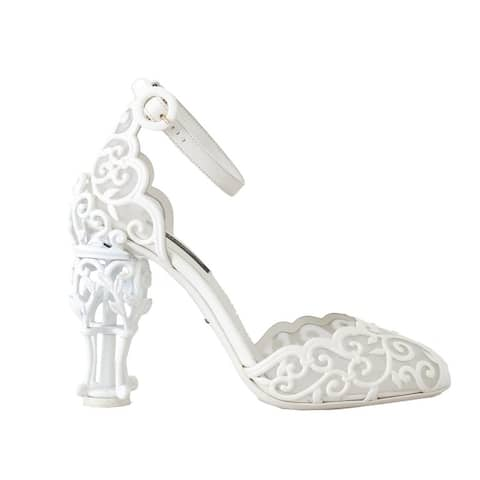 Dolce & Gabbana White Ankle Strap Fairytale Women's Shoes