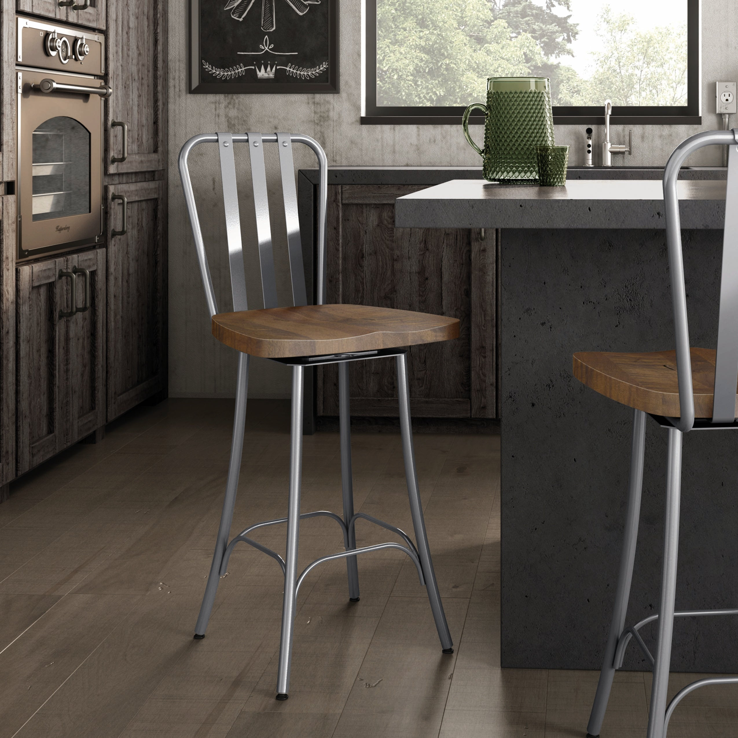 Amisco Bond Swivel Counter Stool With Distressed Wood Seat Overstock 20009775