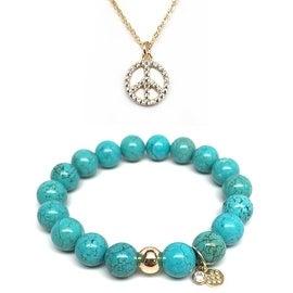Turquoise Magnesite Bracelet & CZ Peace Sign Gold Charm Necklace Set