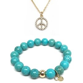"Julieta Jewelry Set 10mm Turquoise Magnesite Emma 7"" Stretch Bracelet & 12mm Peace Sign CZ Charm 16"" 14k Over .925 SS Necklace"