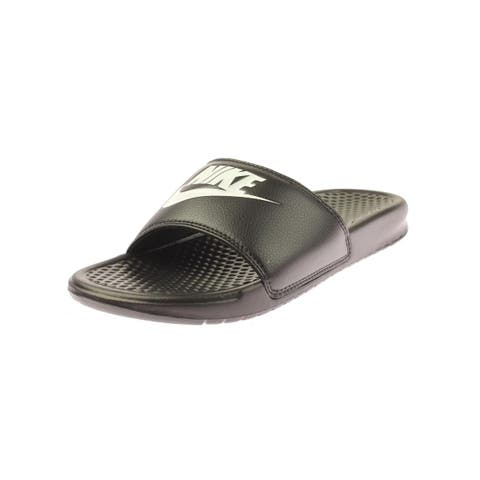 low priced 67569 be572 Nike Mens Benassi JDI Slide Sandals Faux Leather Printed