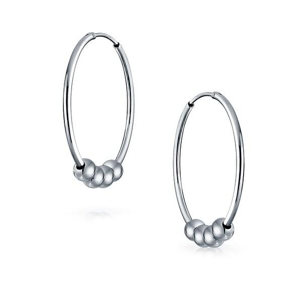 Bali Ball Hoop Simple .925 Sterling Silver Oxidized Earrings
