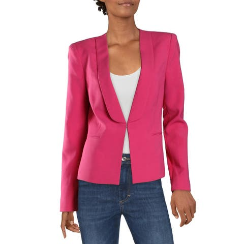 BCBG Max Azria Womens Chandler Blazer Collarless Business Wear - Begonia