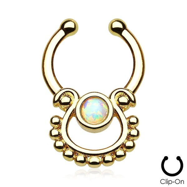 Single Opal Gold IP Non-Piercing Septum Hanger (Sold Individually)