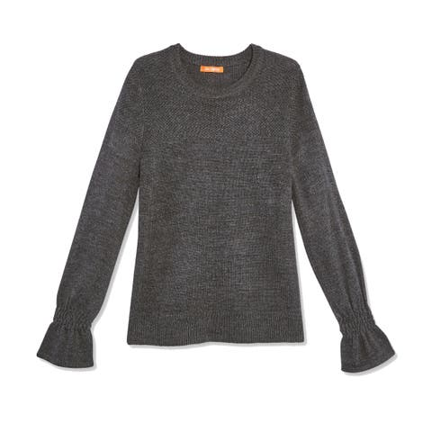 Joe Fresh Deep Gray Womens Size XS Crewneck Bell-Cuff Sweater