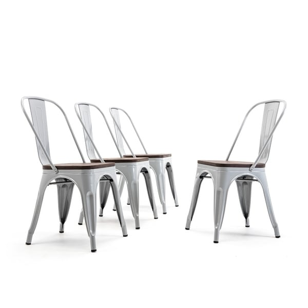 Belleze Modern Style Metal Stackable Bistro Dining Chairs Set Of 4 Wood Seat Cafe Bar