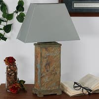 Sunnydaze Indoor-Outdoor Decorative Natural Slate Table Lamp -Electric - 24-Inch