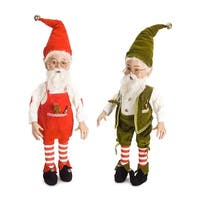 """Set of 4 Red and Green Smiling Santa Elves Christmas Decoration Figurine 25.5"""""""