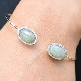 Moonstone Gemstones Bangle Solitaires Sterling Silver Simulated Diamond Womens Classy Wear