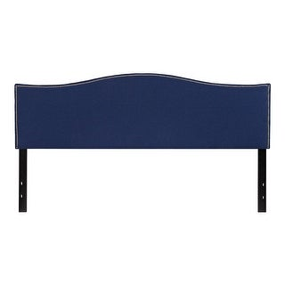 Offex Upholstered King Size Headboard with Accent Nail Trim in Navy Fabric