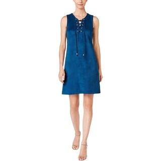 Sandra Darren Womens Petites Casual Dress Faux Suede Lace-Up