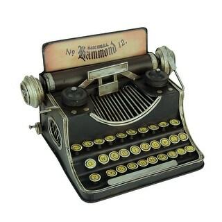 Black Vintage Finish Tin Antique Typewriter Coin Bank