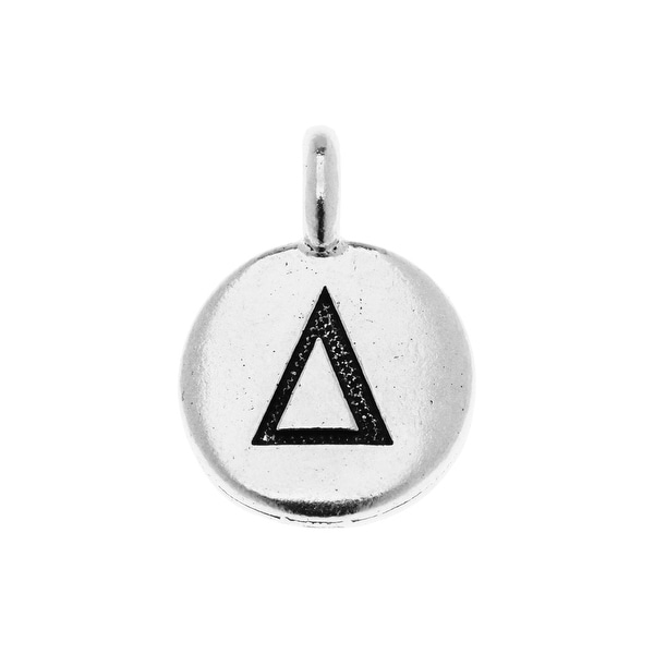 TierraCast Greek Alphabet Charm, Delta Symbol 16.75x11.75mm, 1 Piece, Antiqued Silver Plated