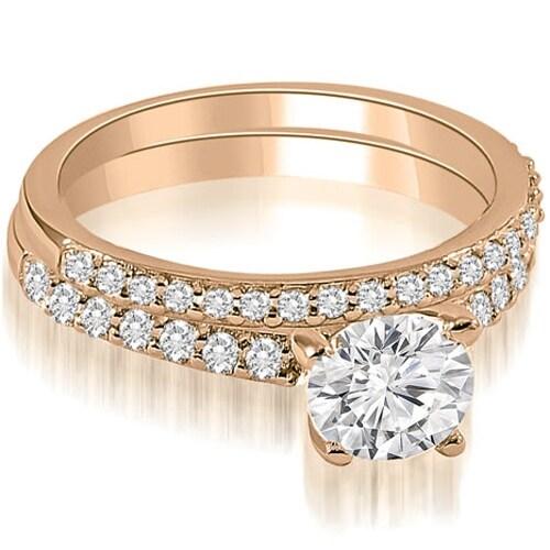 1.15 cttw. 14K Rose Gold Round Cut Diamond Bridal Set