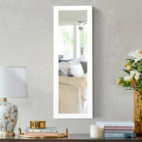 Lockable Wall Door Mounted Mirror Jewelry Cabinet w/LED Lights-White - White