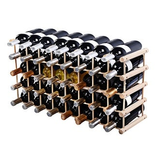 Costway Wood Wine Rack Stackable Storage Storage Display Shelves (40-Bottle) - Natural Pinewood Color