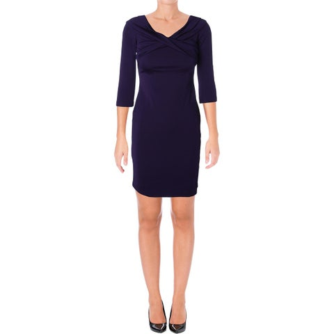 Lauren Ralph Lauren Womens Petites Cocktail Dress Cross Front 3/4 Sleeve