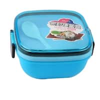 Unique Bargains Plastic Square Shaped Dual Layers Lunch Box Food Storage Container Blue w Spoon