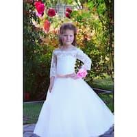 Girls Ivory Blush Off-Shoulder Lace Tulle Felice Flower Girl Dress