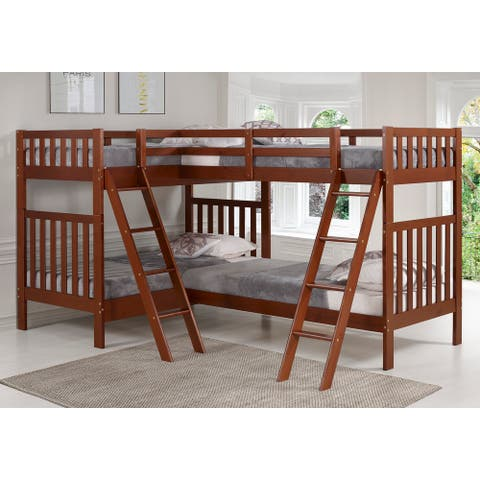 Aurora Solid Wood Twin Over Twin Bunk Bed with Quad Bunk Extension