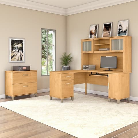 Copper Grove Shumen 60-inch L-shaped Desk with Hutch and File Cabinet