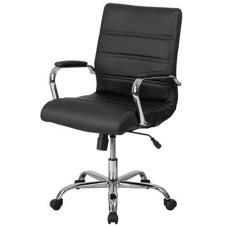 Delacora FF-GO-2286M 23 Inch Wide Leather Swivel Chair with Built-In Lumbar Supp