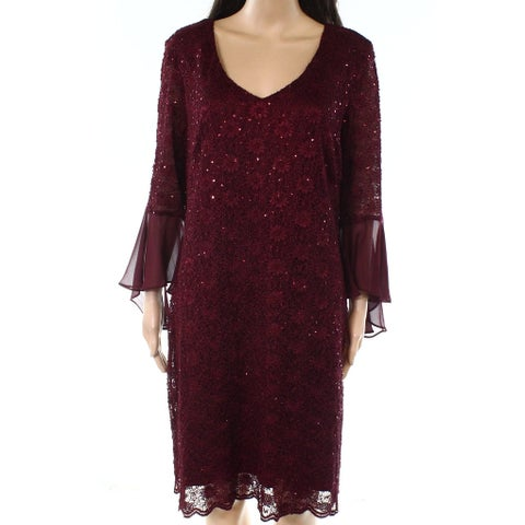 Connected Apparel Purple Womens Size 12 Bell Sleeve Sheath Dress