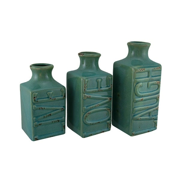 Set of 3 Blue Crackle Finish Live Laugh and Love Porcelain Vases - 9 X 4 X 4 inches