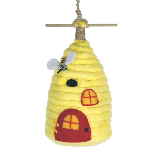 Handmade Wild Woolies Honey Bee House Felt Birdhouse - (Nepal) -