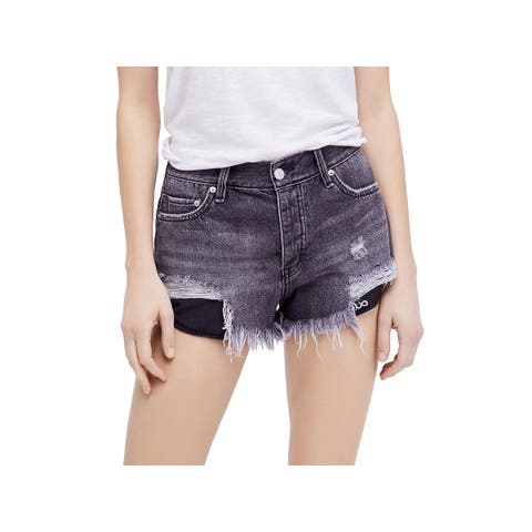 Free People Womens Loving Good Vibrations Denim Shorts Destroyed High Rise