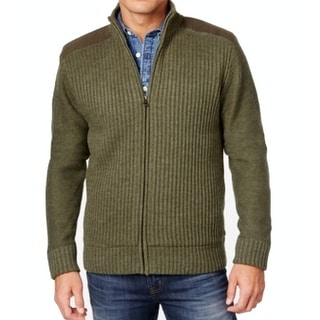 Weatherproof NEW Green Mens Size 2XLT Full Zip Ribbed Knit Sweater