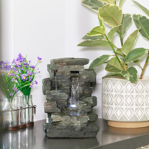 Alpine Corporation 13-Inch Indoor 4-Tier Cascading Tabletop Fountain with LED Lights, Gray