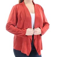 JM COLLECTION Womens Red Faux Suede Long Sleeve Open Top  Size: L