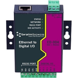 """Brainboxes ED-004 Brainboxes ED-004 4 Port Selectable DIO + RS232 - 1 x Network (RJ-45) - 1 x Serial Port - Fast Ethernet -"