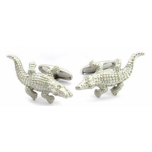 Silver Alligator Cufflinks Animal