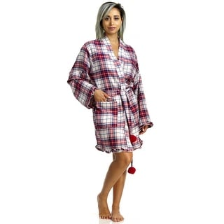 PJ Couture Women's Wrapped In Plaid Bathrobe