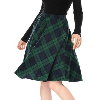 Allegra K Women Plaids Elastic Waist Knee Length A Line Skirt - Green