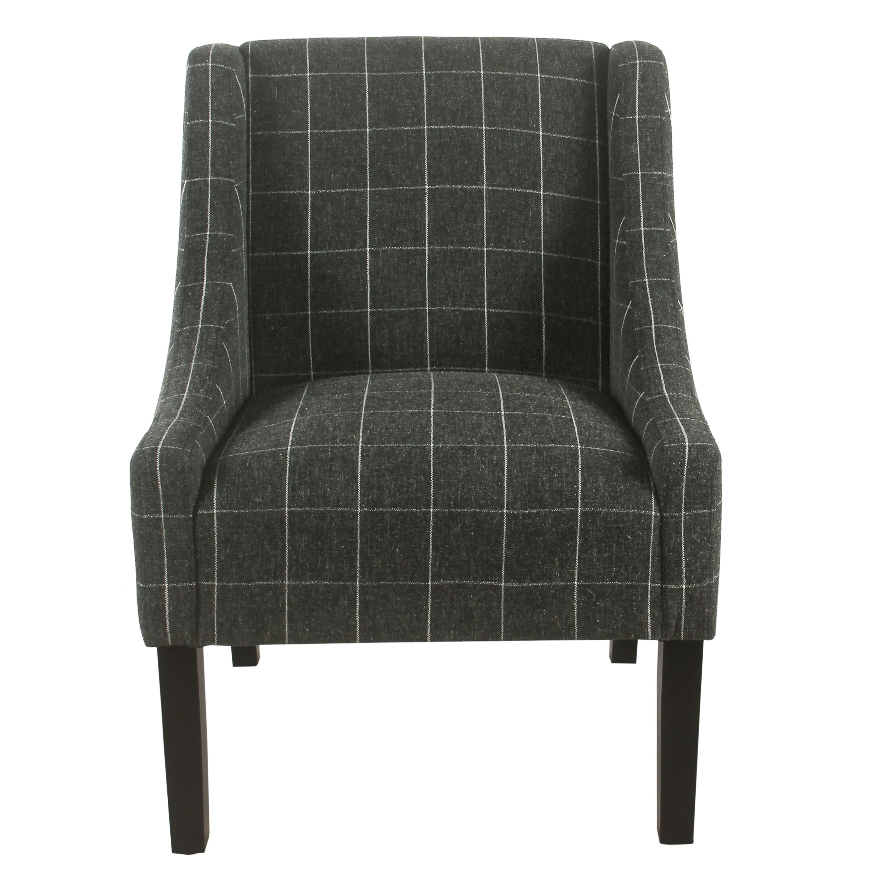 Shop Black Friday Deals On Homepop Modern Swoop Arm Accent Chair Black Windowpane On Sale Overstock 22469023
