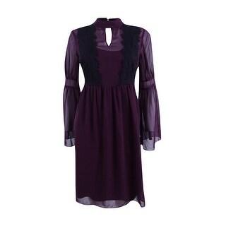 Jessica Simpson Women's Lace-Trim Bell-Sleeve Chiffon Dress - Plum