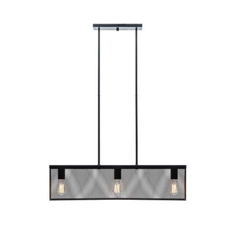 Globe 65019 Three Light Linear Pendant with Metal Mesh Shade, Black