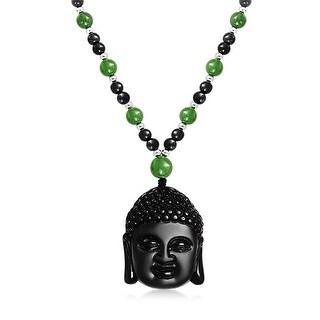 Buddha Head Obsidian Pendant Lab Created Jade Bead Necklace 26 Inches